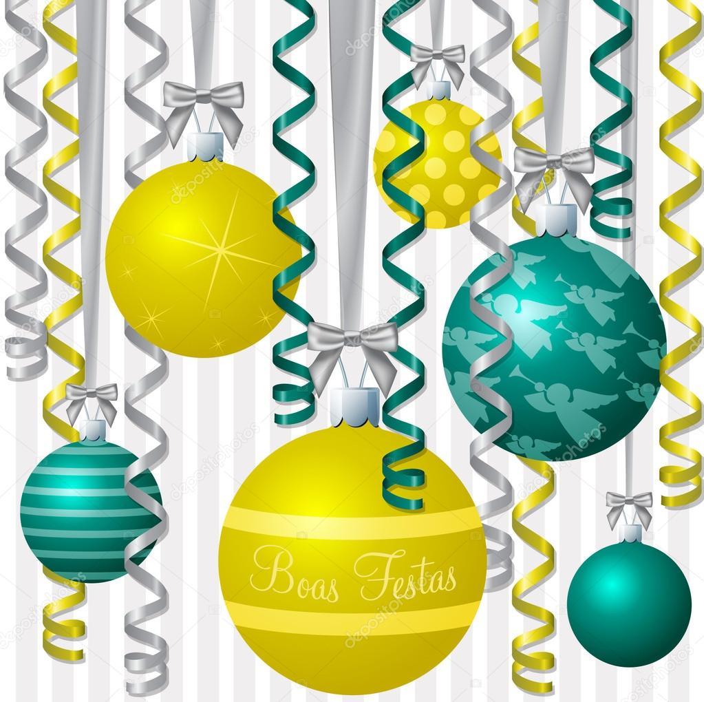 Feliz Navidad En Portugues Brasil.Aqua Portugues Brasileno Y Cinta Amarilla Y Adorno