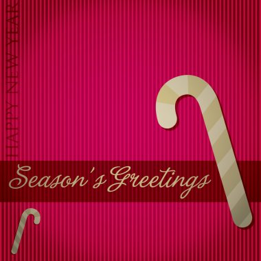 Seasons Greetings candy cane card in vector format.