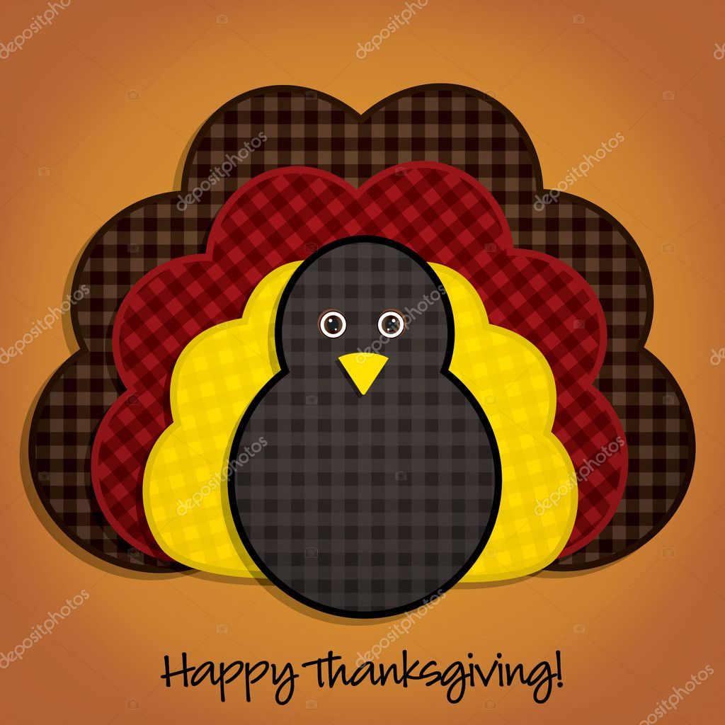 Happy Thanksgiving cute material turkey card in vector format