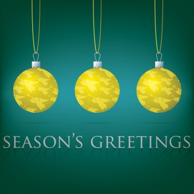 Bright Seasons Greetings bauble card in vector format