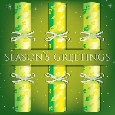 Seasons Greetings holly cracker card in vector format.