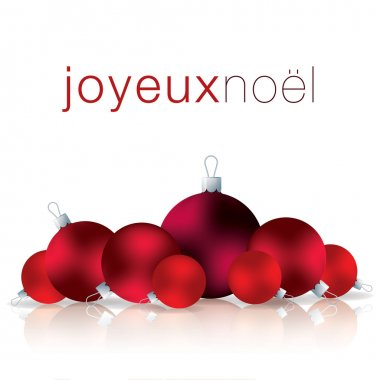 French Merry Christmas bauble card in vector format.
