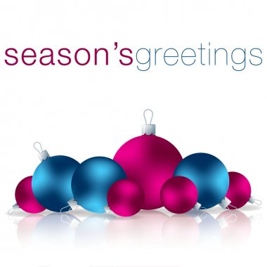 Seasons Greetings bauble card in vector format