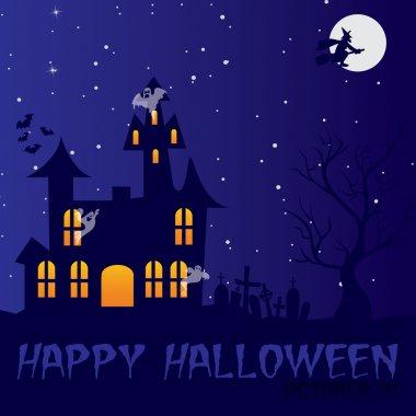 Haunted house Happy Halloween card in vector format