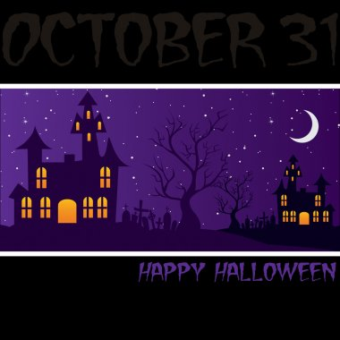 Haunted house Happy Halloween card in vector format