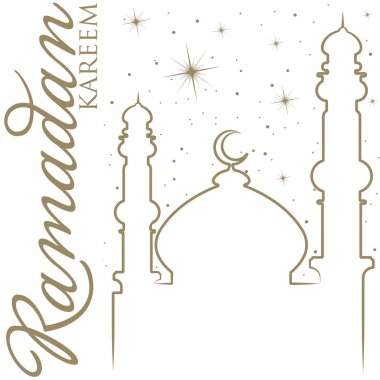Hand drawn Ramadan Kareem Generous Ramadan greeting card in vector format