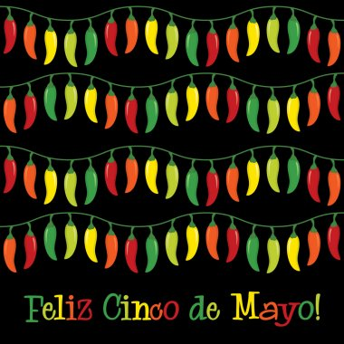 Cinco de Mayo chili pepper greeting cards in vector format