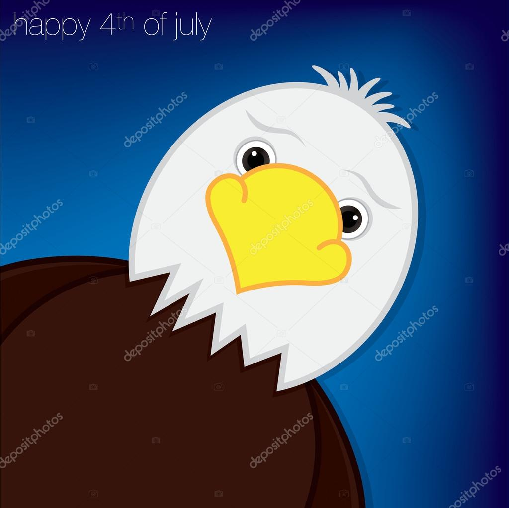 Cute cartoon eagle Independence Day card in vector format.