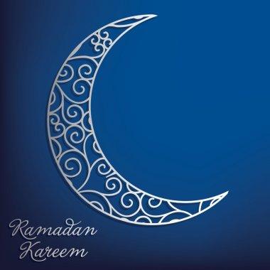 Ramadan Kareem (Generous Ramadan) filigree moon card in vector format.