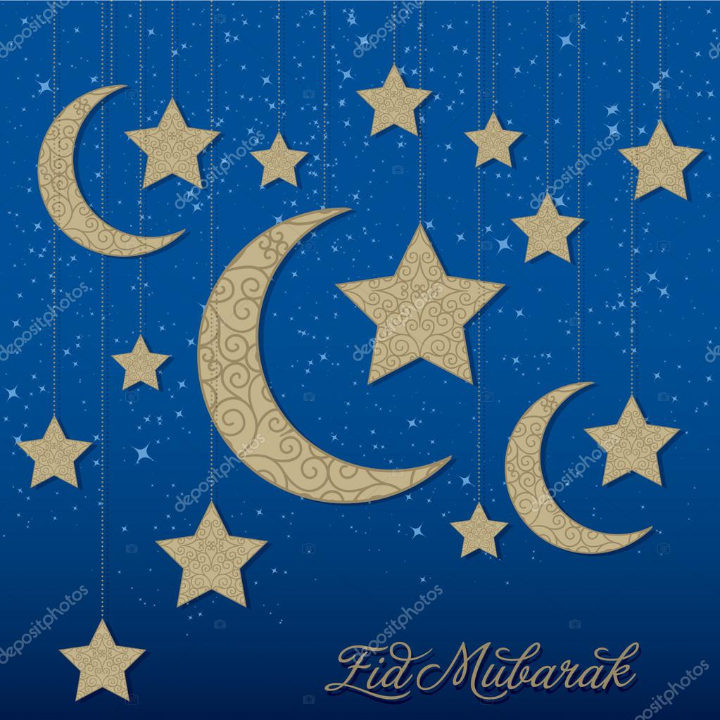 Eid Mubarak (Blessed Eid) mobile card in vector format