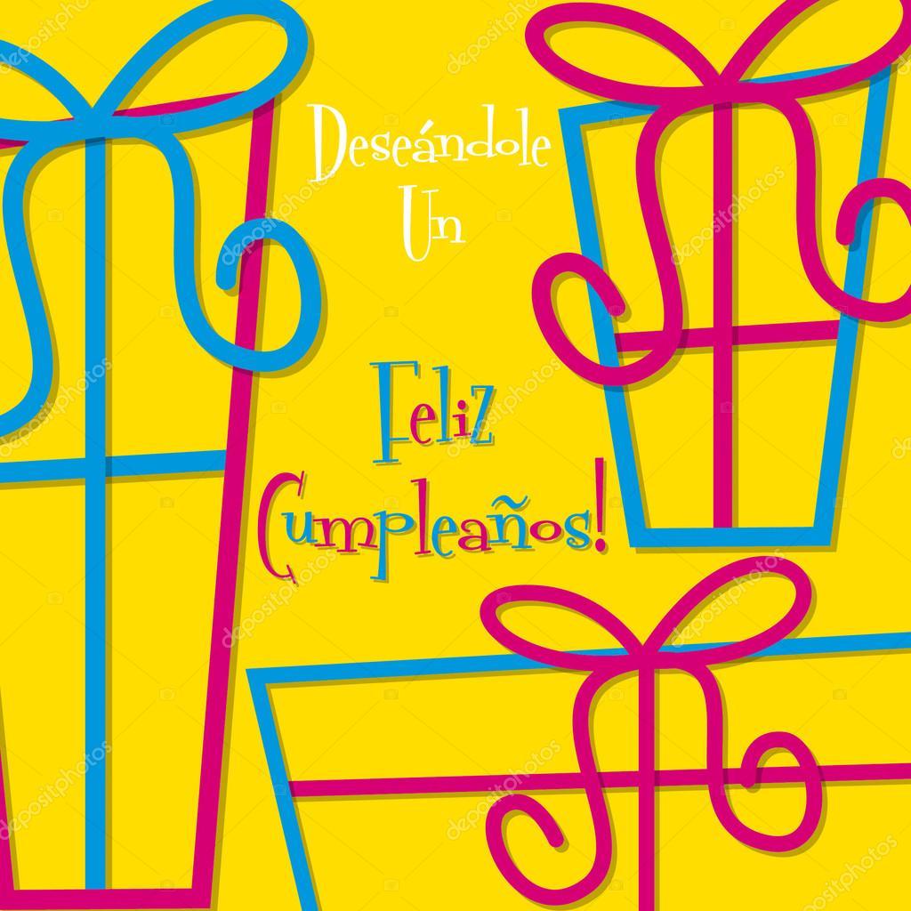 Bright Spanish Happy Birthday Card Stock Illustration