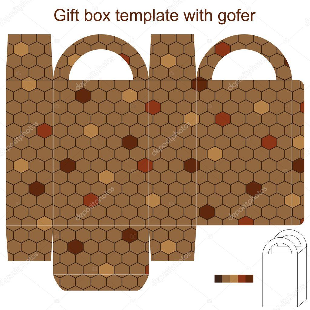 plantilla caja de regalo con recadero — Vector de stock ...
