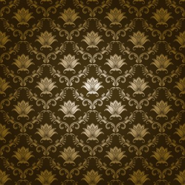 Damask seamless floral pattern. Royal wallpaper. Flowers on a green background. EPS 10 clip art vector