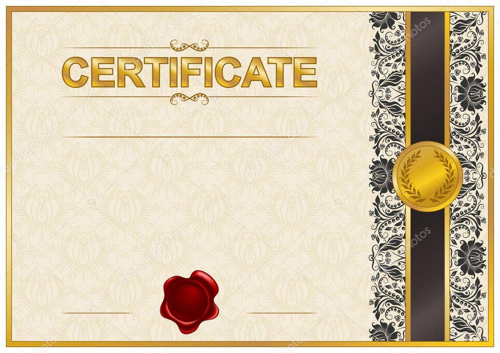 элегантный шаблон сертификата диплома Векторное изображение  Элегантный шаблон сертификата диплома с кружевной орнамент сургучная печать место для текста Векторные иллюстрации eps 8 Вектор от juli goncharova