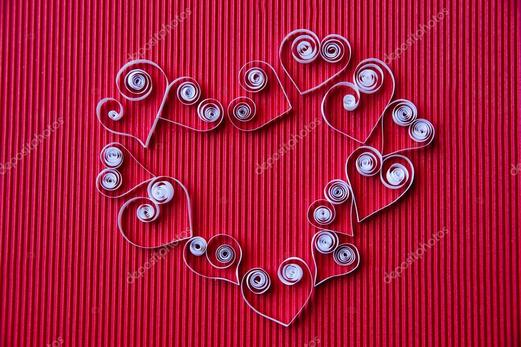 Hearts Of Paper Quilling For Valentine S Day Stock Photo C Starast