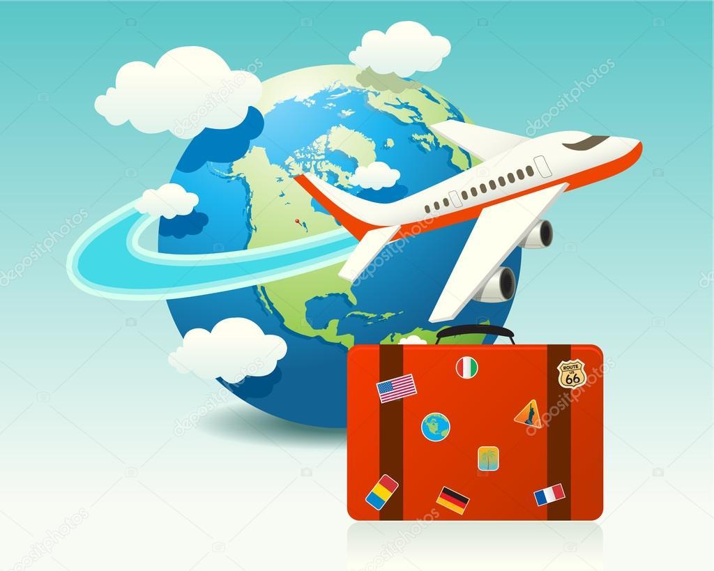 Vliegtuig Reizen Met Bagage Stockvector Solid Istanbul 12391341