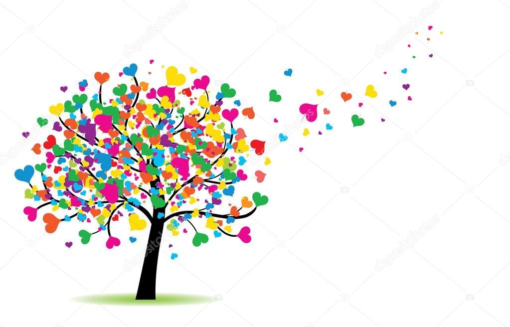 High detailed illustration of love tree. stock vector