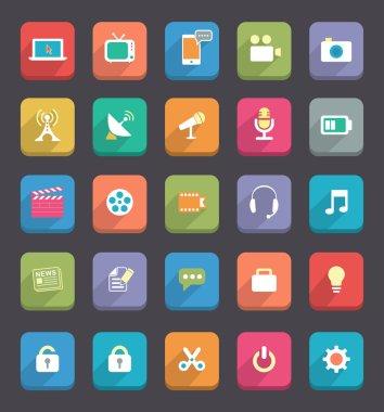 Flat Media & Communication icons