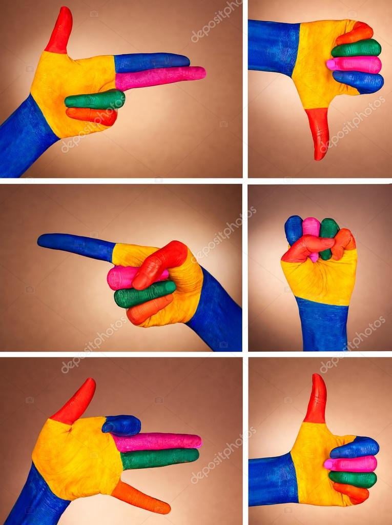 A set of hand gestures