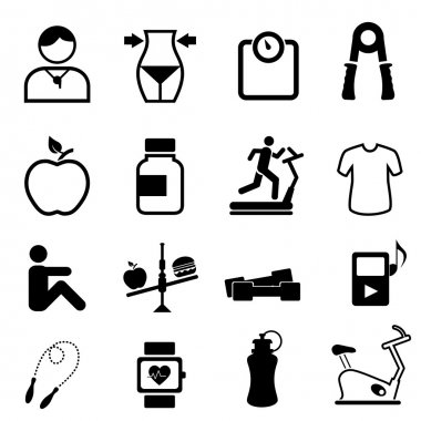Health, fitness and diet icons