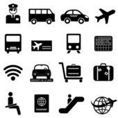 letiště a letecké cestování ikony