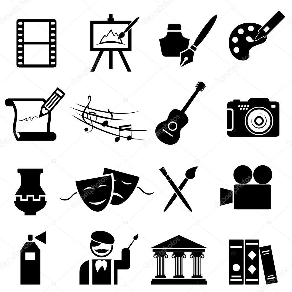 Fine arts icon set in black stock vector