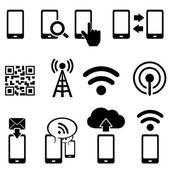 Fotografie mobilní a wifi sady ikon