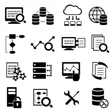 Big data, cloud computing and technology icons