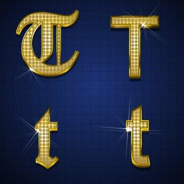 Luxurious gold diamonds alphabets
