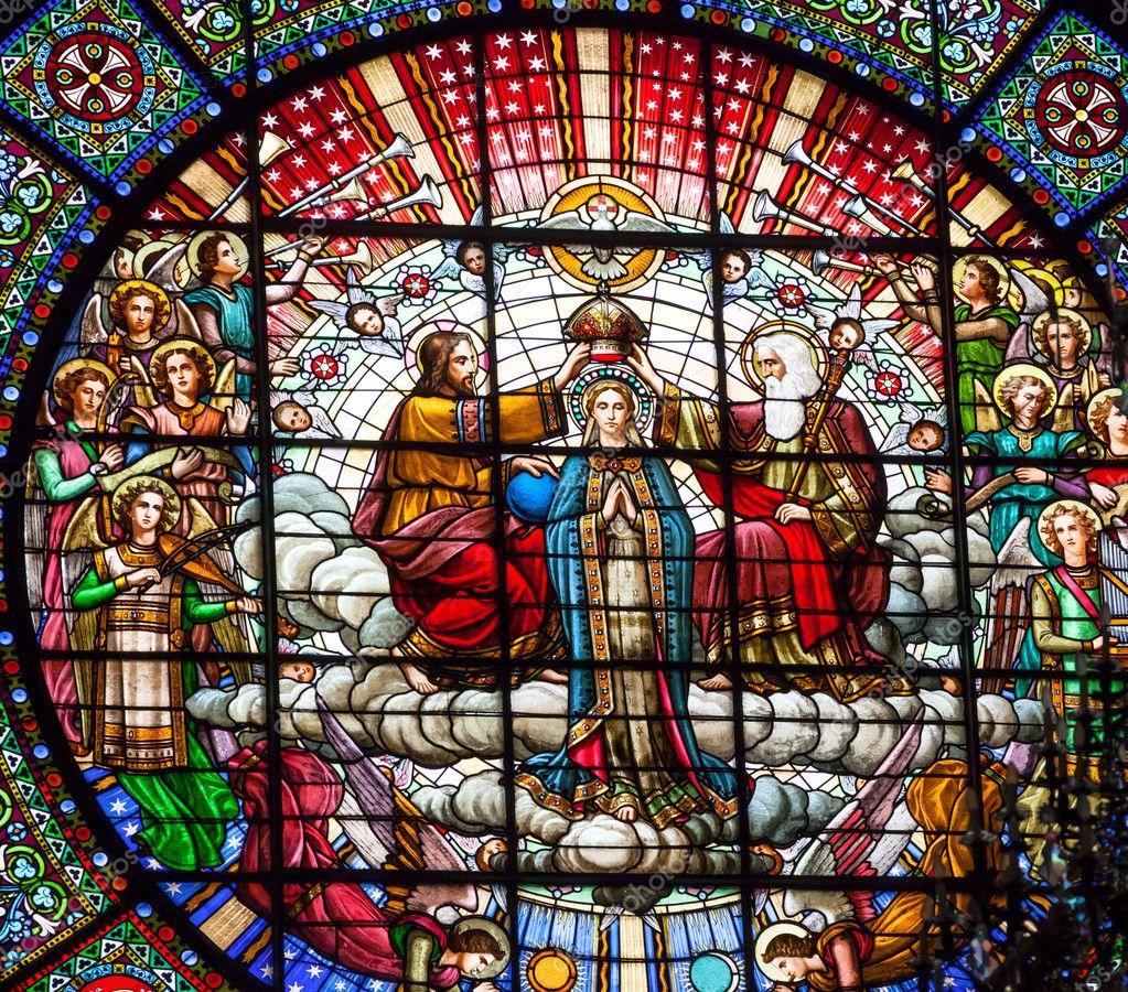 Tableau poétique des fêtes chrétiennes - Vicomte Walsh - 1843 - (Images et Musique chrétienne) Depositphotos_18093985-stock-photo-stained-glass-jesus-mary-rose