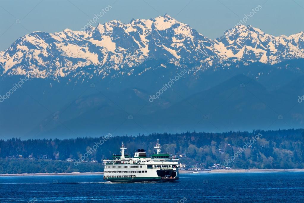 Seattle Bainbridge Island Ferry Puget Sound Olympic Snow Mountai