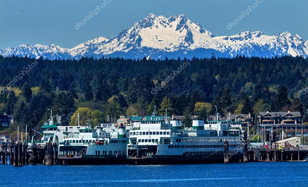 Bainbridge Island Ferry Dock Puget Sound Mount Olympus Snow Moun