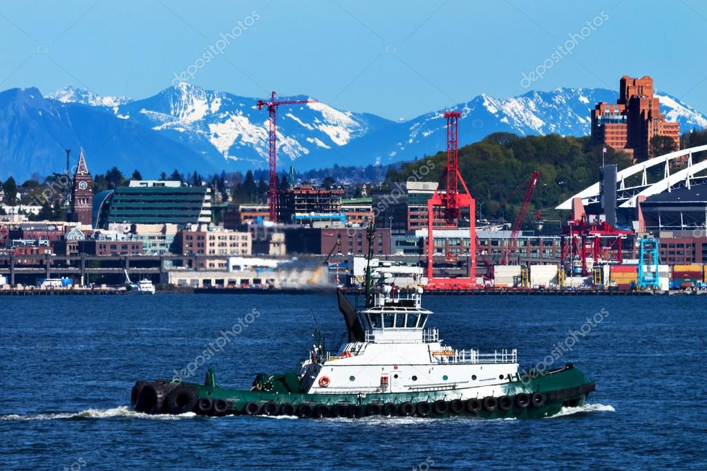 Tug Boat Seattle Port with Red Cranes and Boats Cascade Mountain