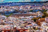 Fotografie Stadt Ansicht Stierkampfarena von Giralda Turm Kathedrale von Sevilla Spanien