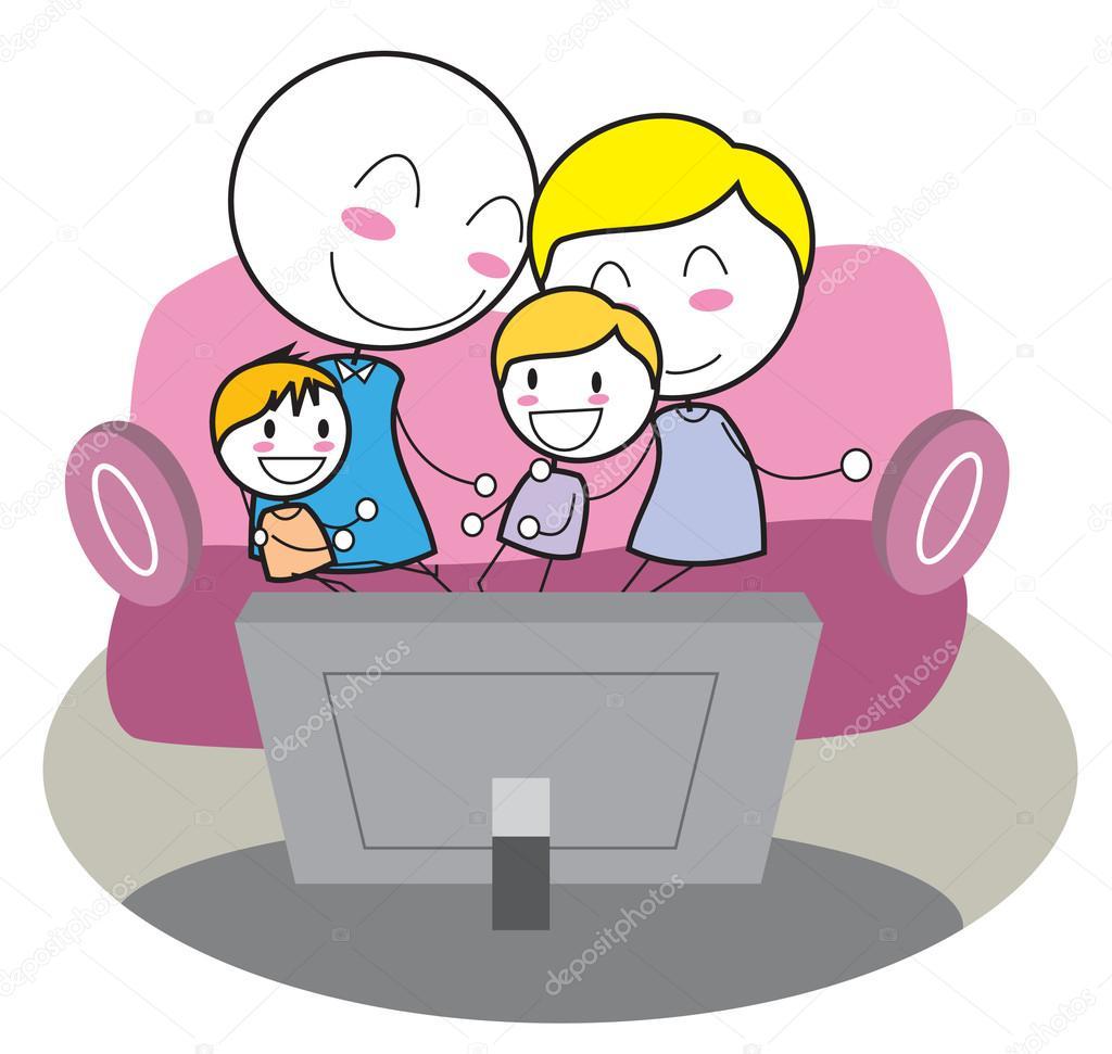 Animado ni os viendo tv familia viendo tele vector de - Television en casa ...