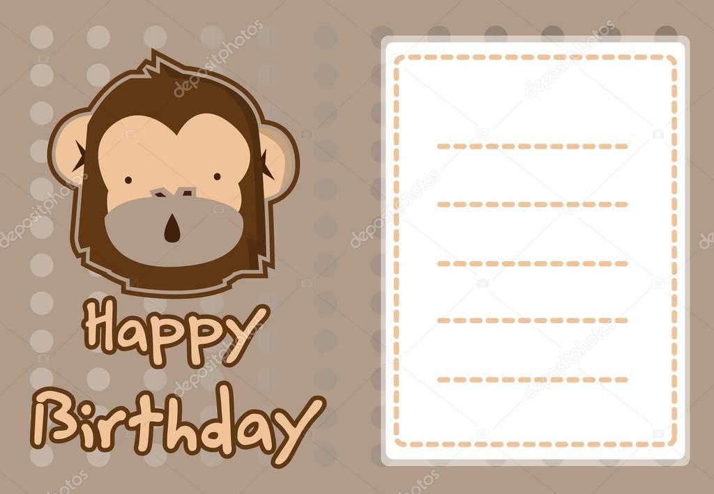 イラストかわいい猿の誕生日カード ストックベクター Redrockerz99