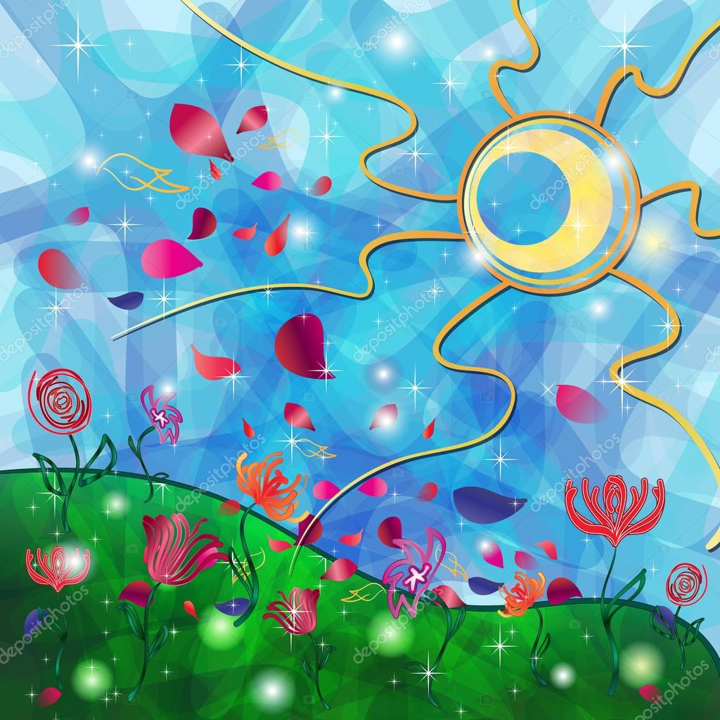 部族の太陽と花とファンタジー背景 — ストックベクター © elenamarchesin