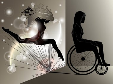 Sad Woman in wheelchair with Jumping girl's shadow