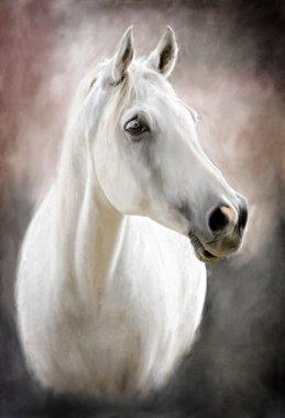 "Картина, постер, плакат, фотообои ""Белая лошадь"", артикул 13274948"
