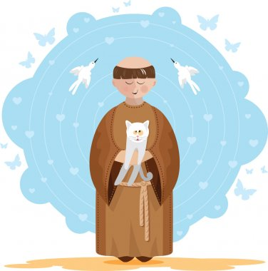 St. Francis of Assisi with kitten
