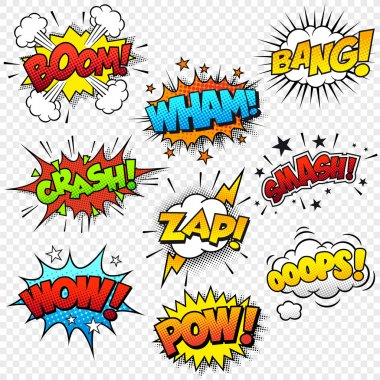Collection of nine multicolored comic sound Effects stock vector