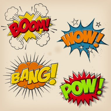 A set of 4 Grunge Comic Cartoon Sound Effects. A multilayered Super-Hi-Detail Vector EPS file is available as Download Option clip art vector