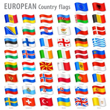 Vector Collection of all European National Flags, in simulated 3D waving position, with names and grey shadow. Every Flag is isolated on its own layer with proper naming. stock vector