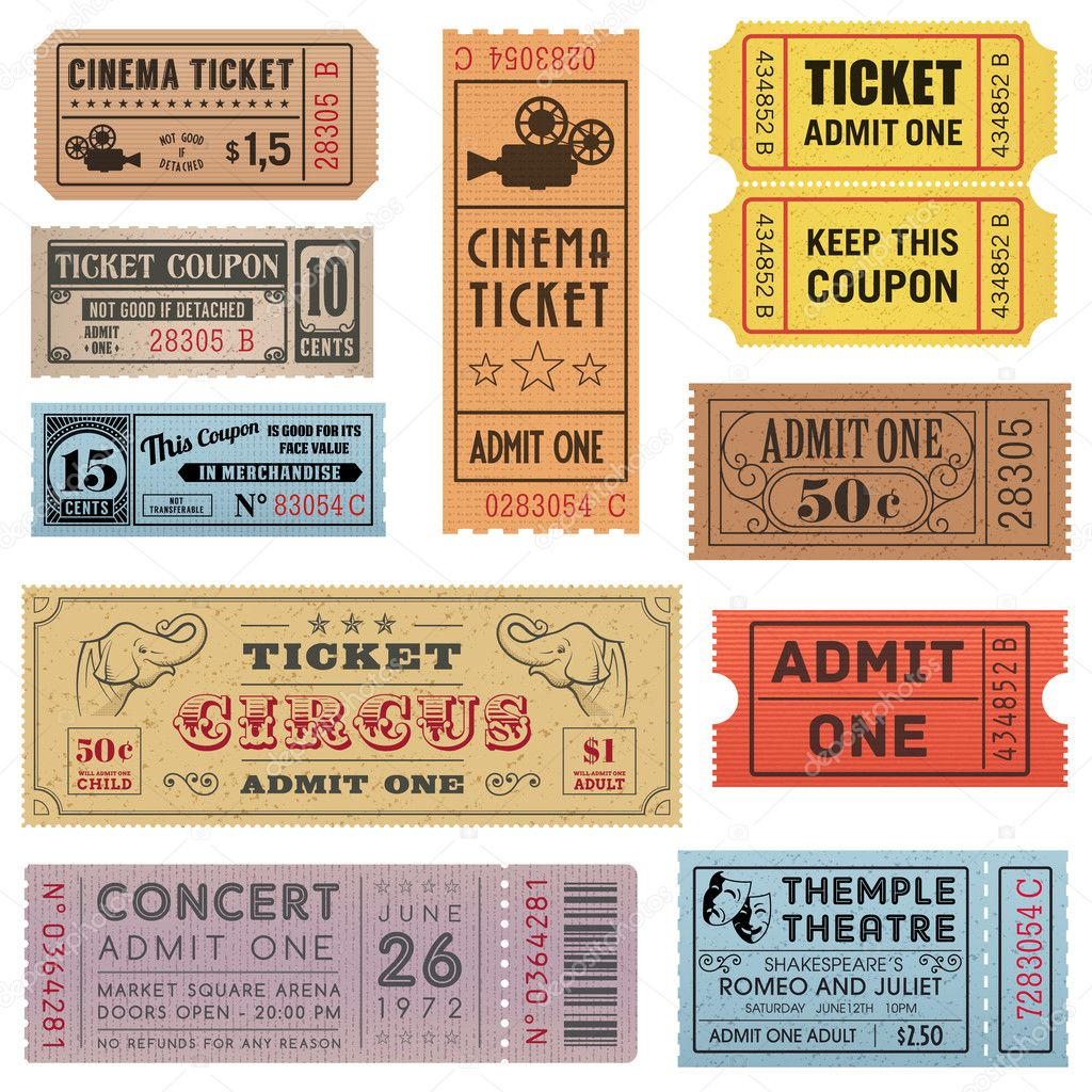 Grunge Vector Tickets Collection 1