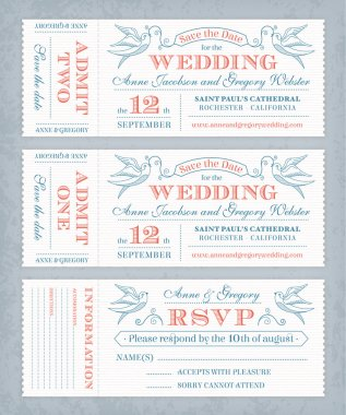 Vector Wedding Invite Tickets