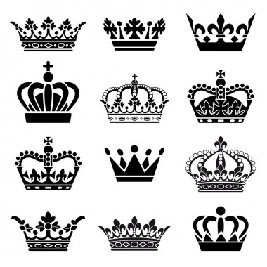 Set of 12 Crown Illustrations. Every crown is isolated on a different layer. stock vector