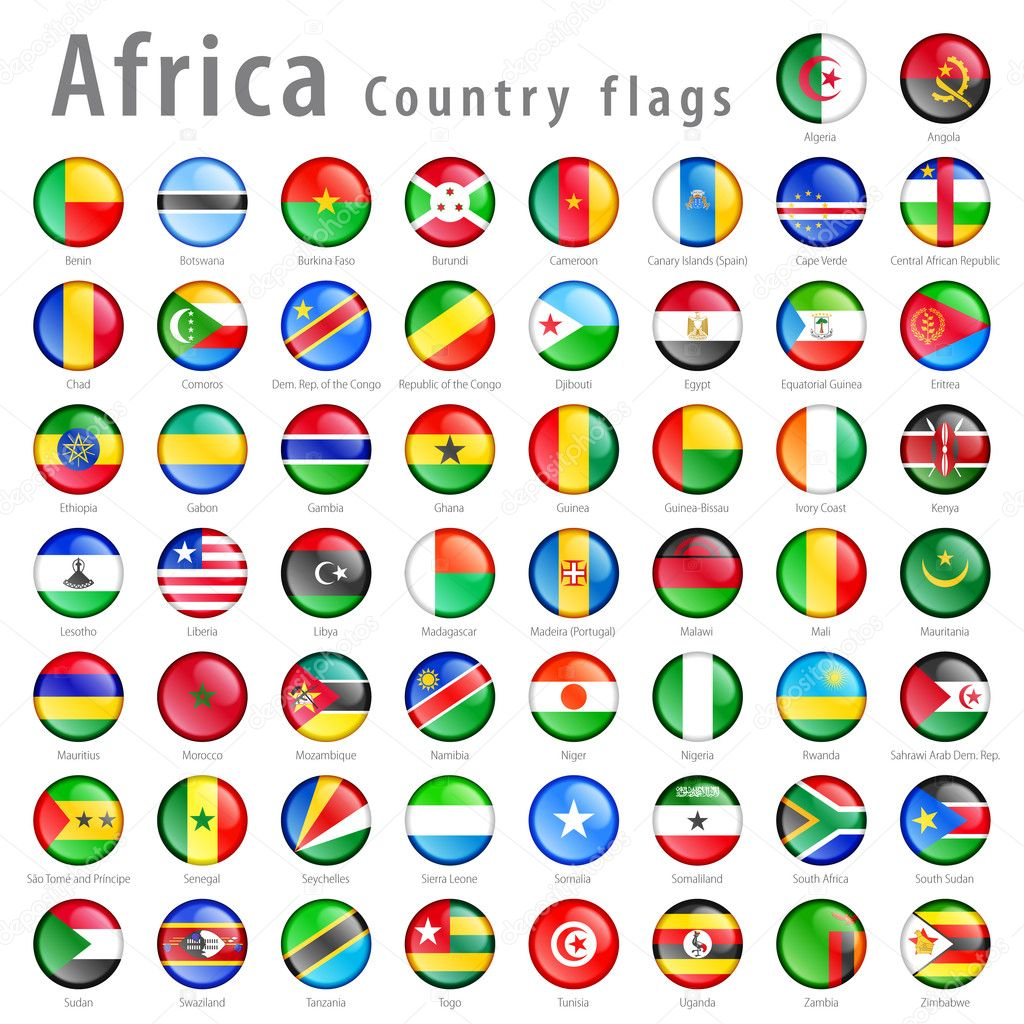 vector african national flag button set stock vector