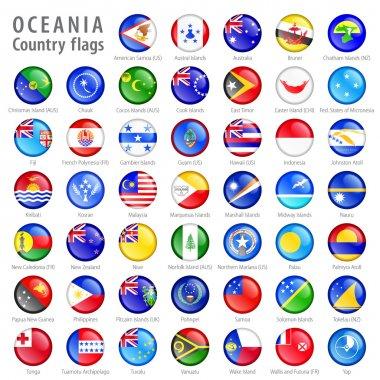 Oceania National Flag Buttons Set