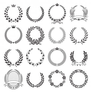 A set of Nine High Detail Ceremonial Frames. With LAurel Wreaths, leaves, Corn, wheat stock vector