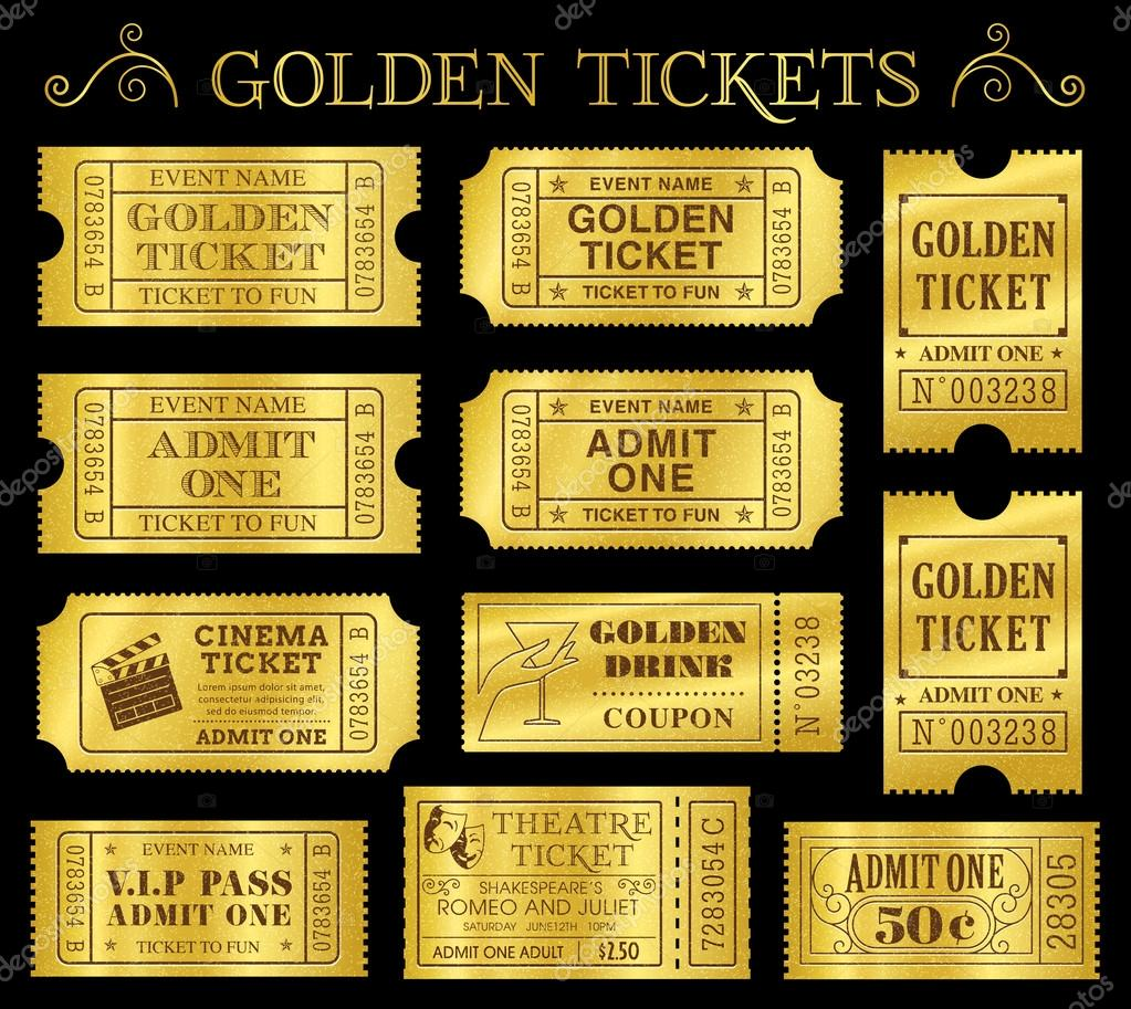 Golden Vektor Ticket Vorlagen — Stockvektor © Fourleaflovers #49194309